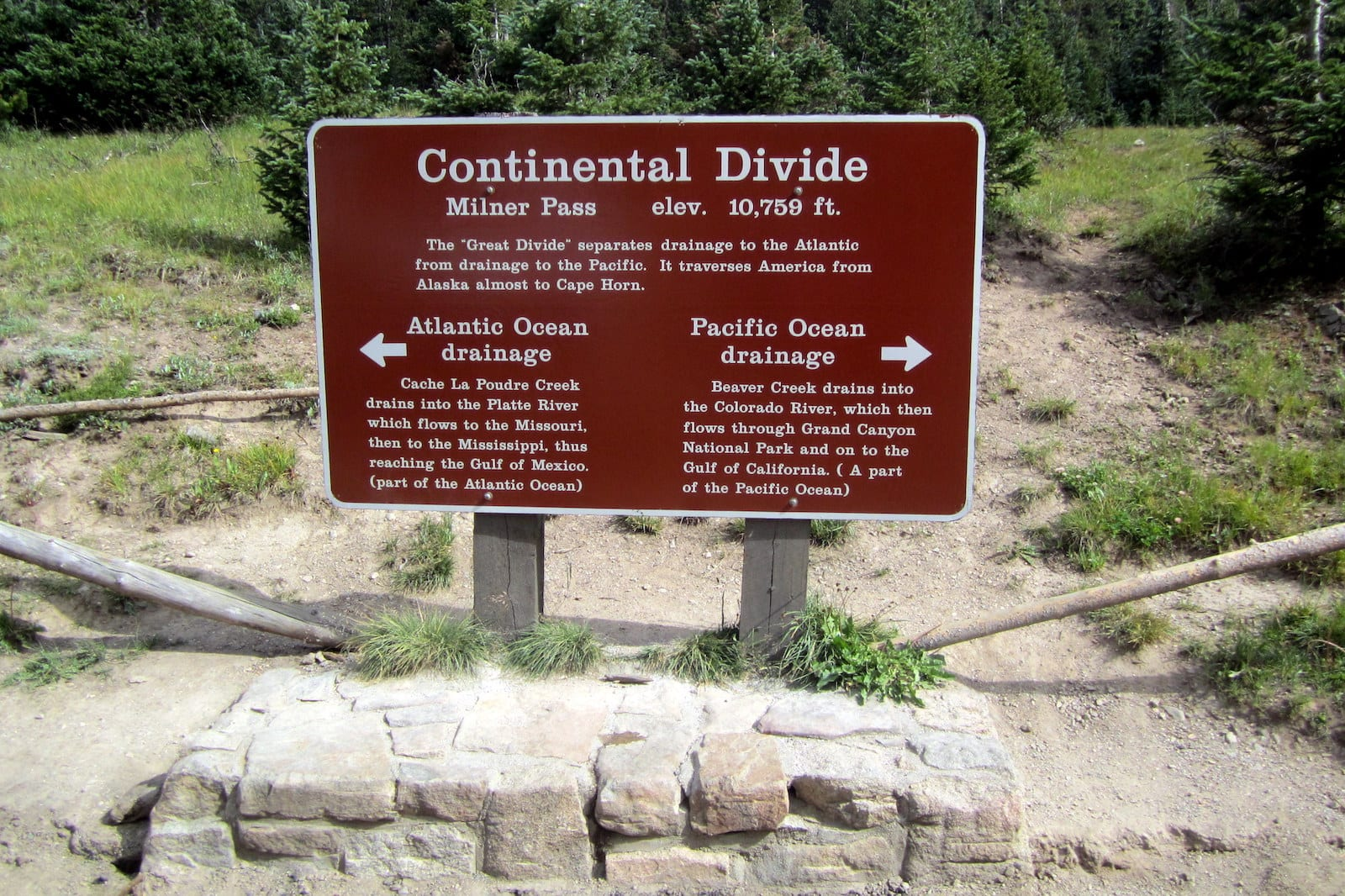 Continental Divide Drainage Sign Milner Pass Colorado