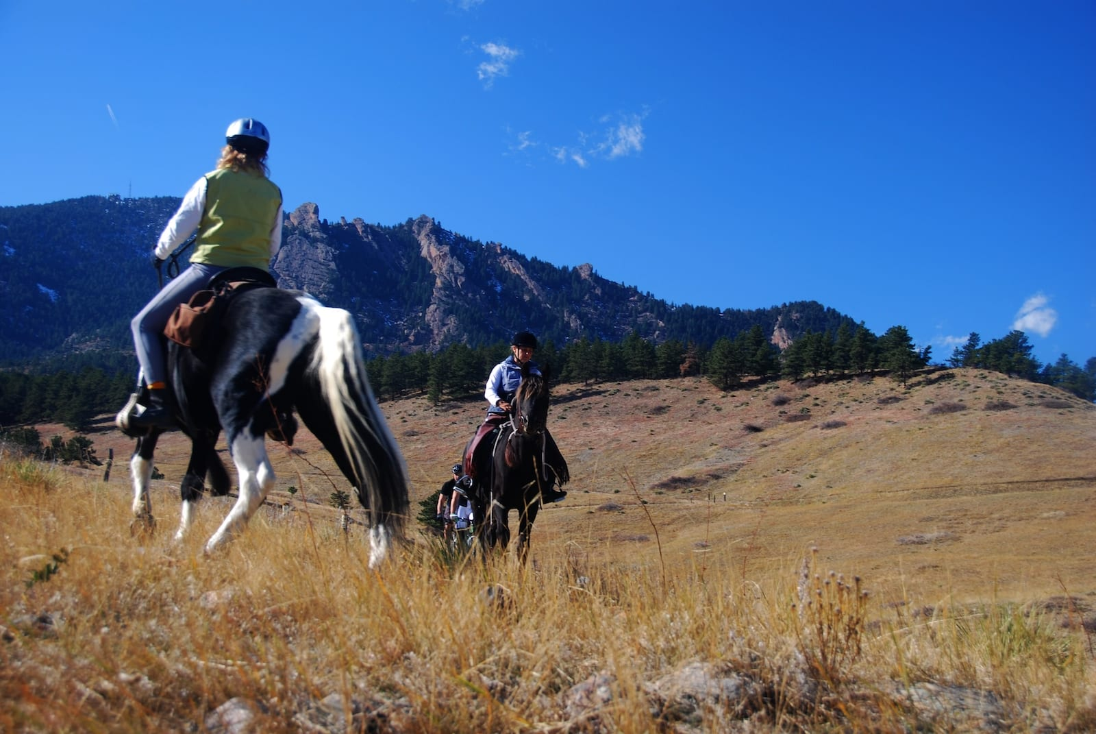 Hiking Etiquette Horseback Riders and Bikers on Hiking Trail Eldorado Springs Colorado