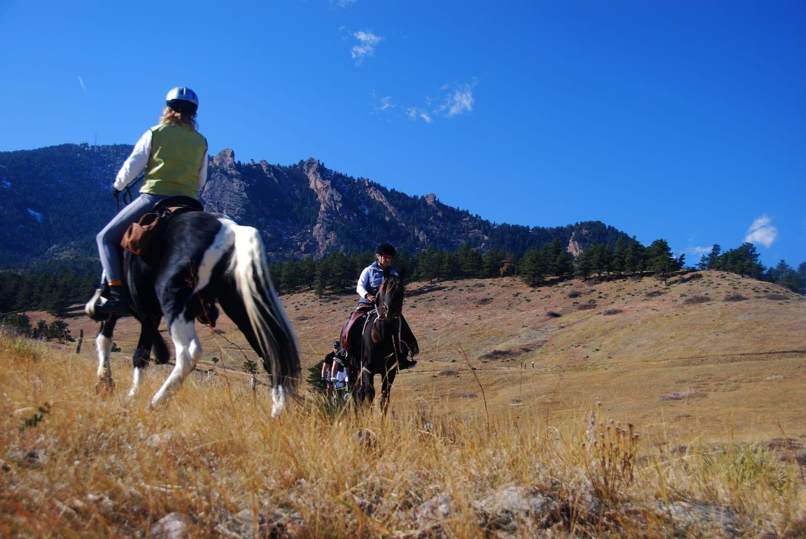 Hiking Etiquette Horseback Riders and Bikers on Hiking Trail Eldorado Springs Colorado