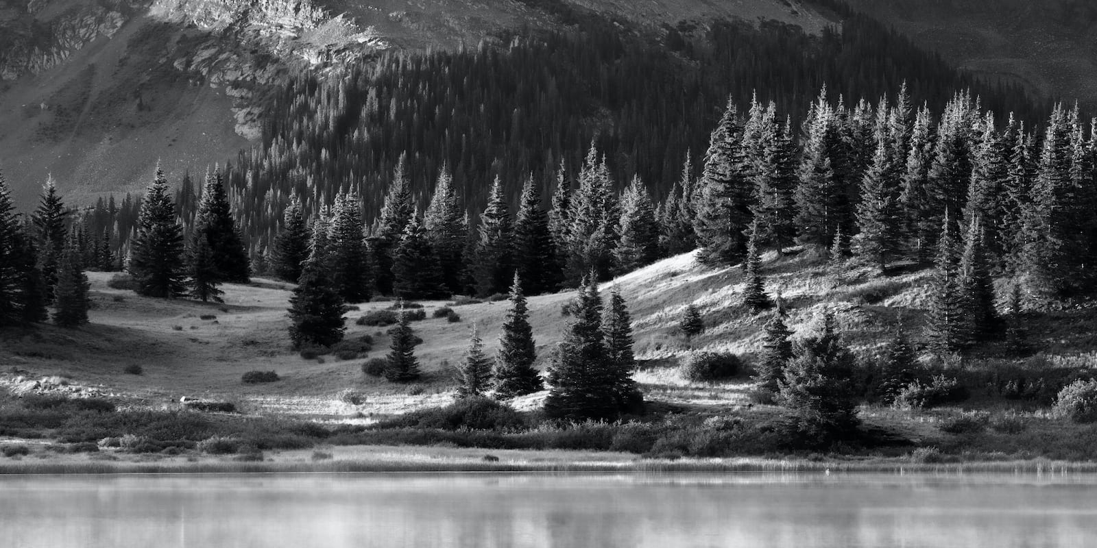 Little Molas Lake Still Black and White Image