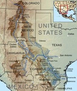 Map Rio Grande River and Tributaries