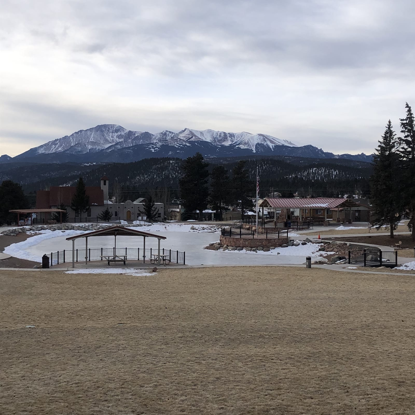 Woodland Park CO Memorial Park Pikes Peak VIew