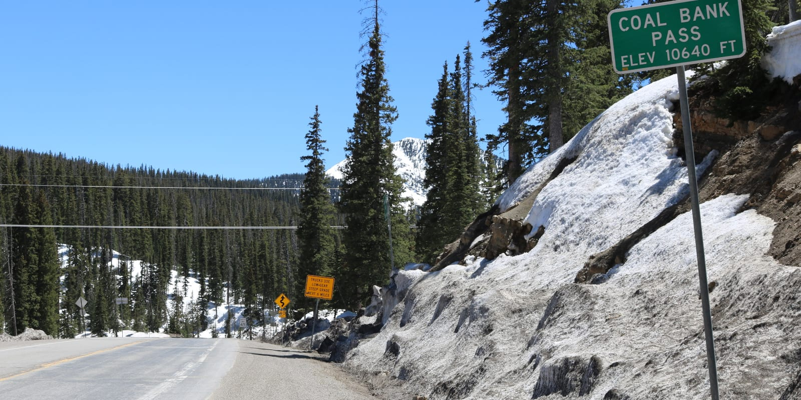 One of the signs at the top of Coal Bank Pass in San Juan County, Colorado
