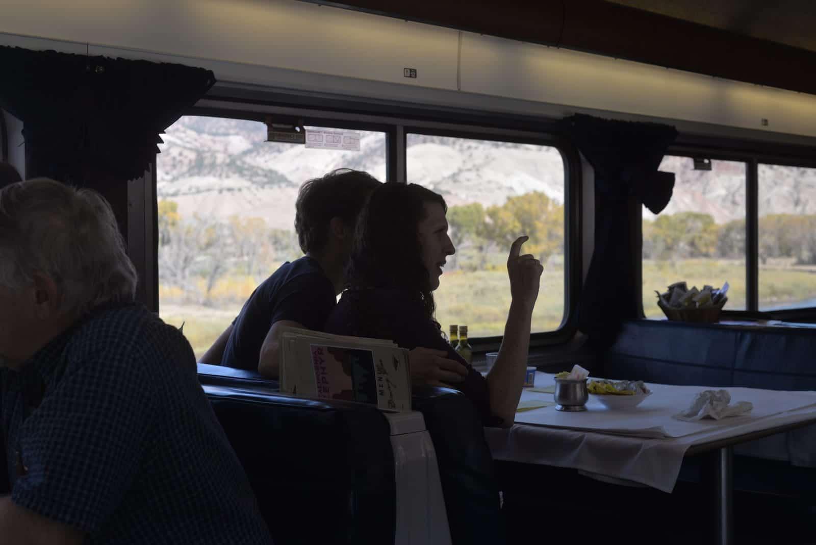 Amtrak California Zephyr Train Dining Car Colorado Rocky Mountains