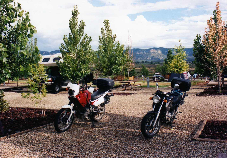 Cortez KOA Campground Motorcycles and RVs Colorado
