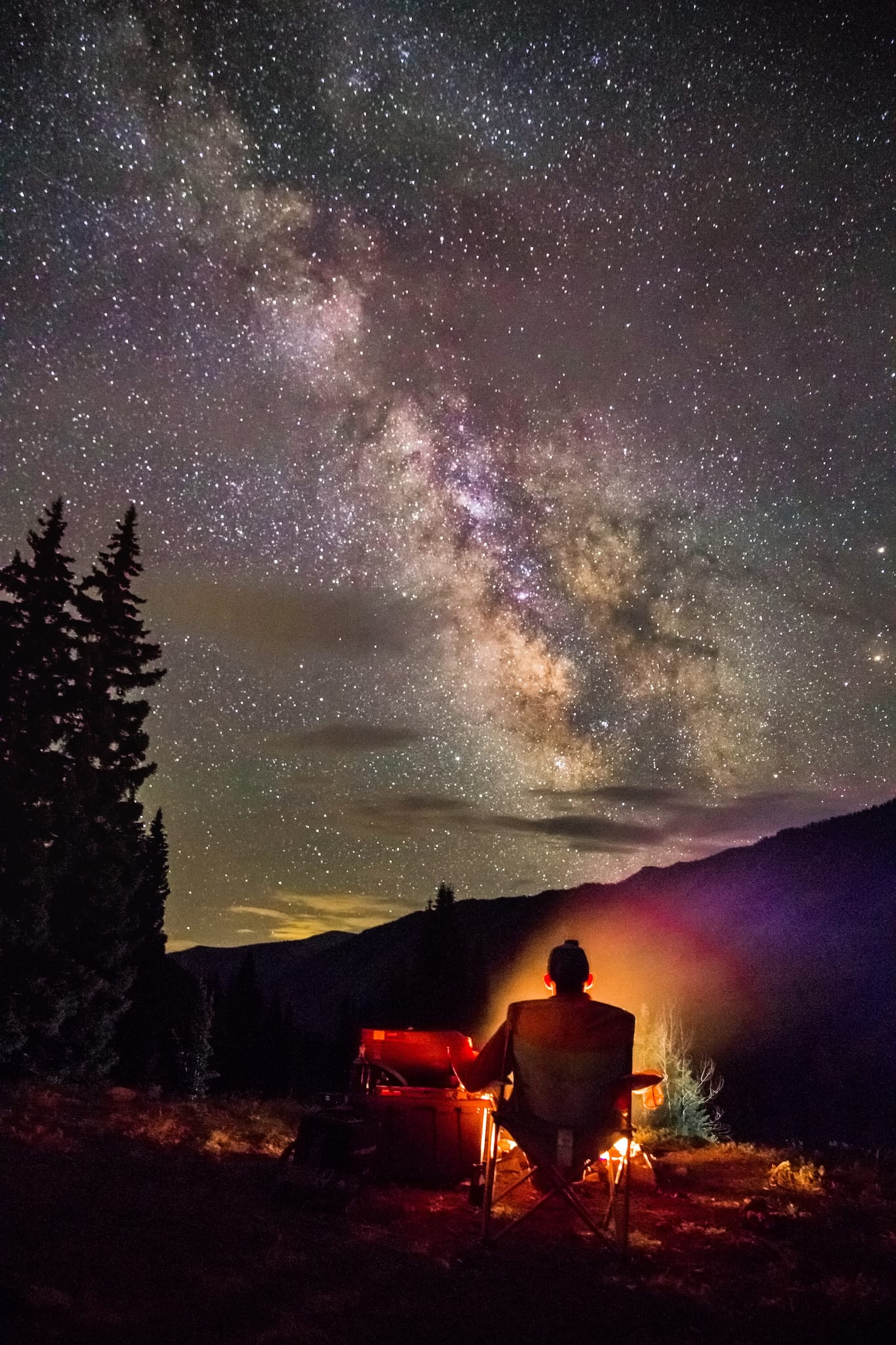Dispersed Car Camping Crested Butte Night Stars and Campfire