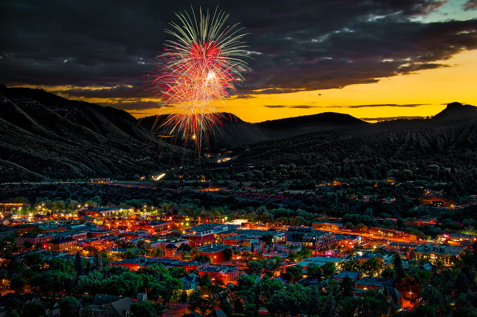 Durango CO 4th of July Fireworks Overlooking Downtown