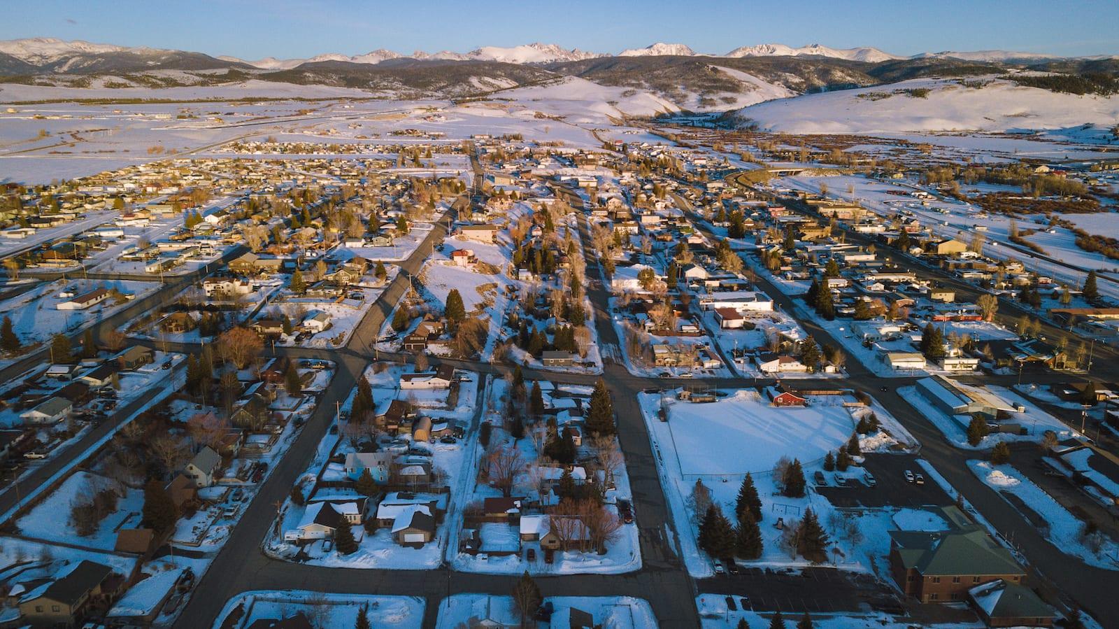 Granby Colorado Winter Aerial View