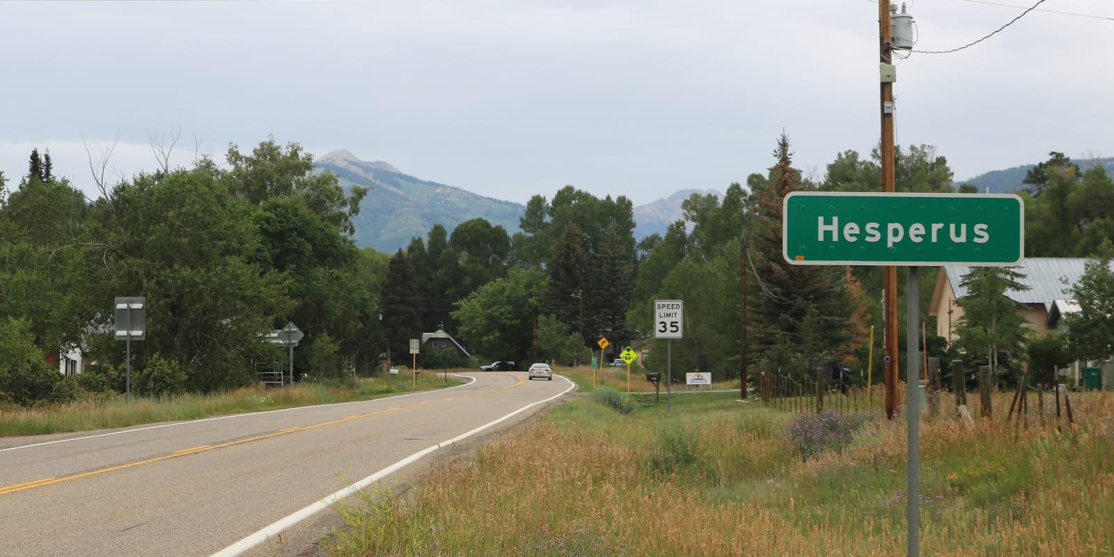 Hesperus Colorado Sign