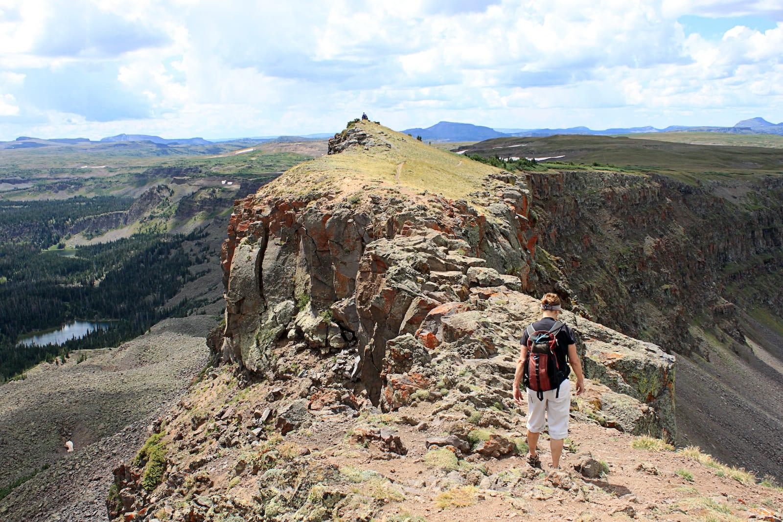 Hiker on Devil's Causeway Flat Tops Yampa CO
