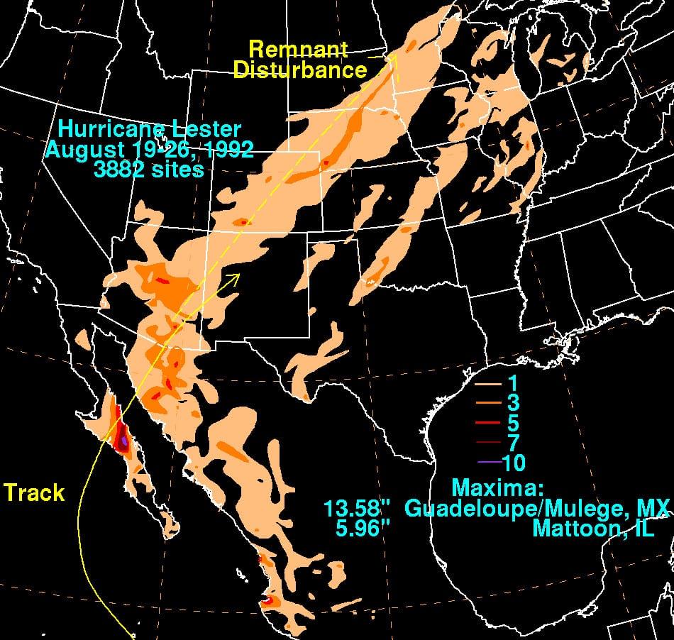 Hurricane Lester 1992 Rainfall Map