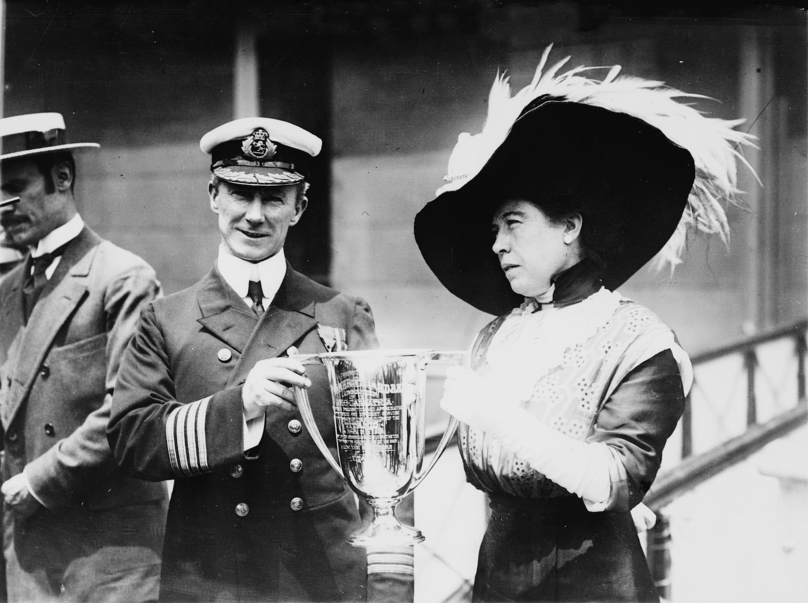 Molly Brown Hands Award to Titanic Captain Arthur Henry Rostron