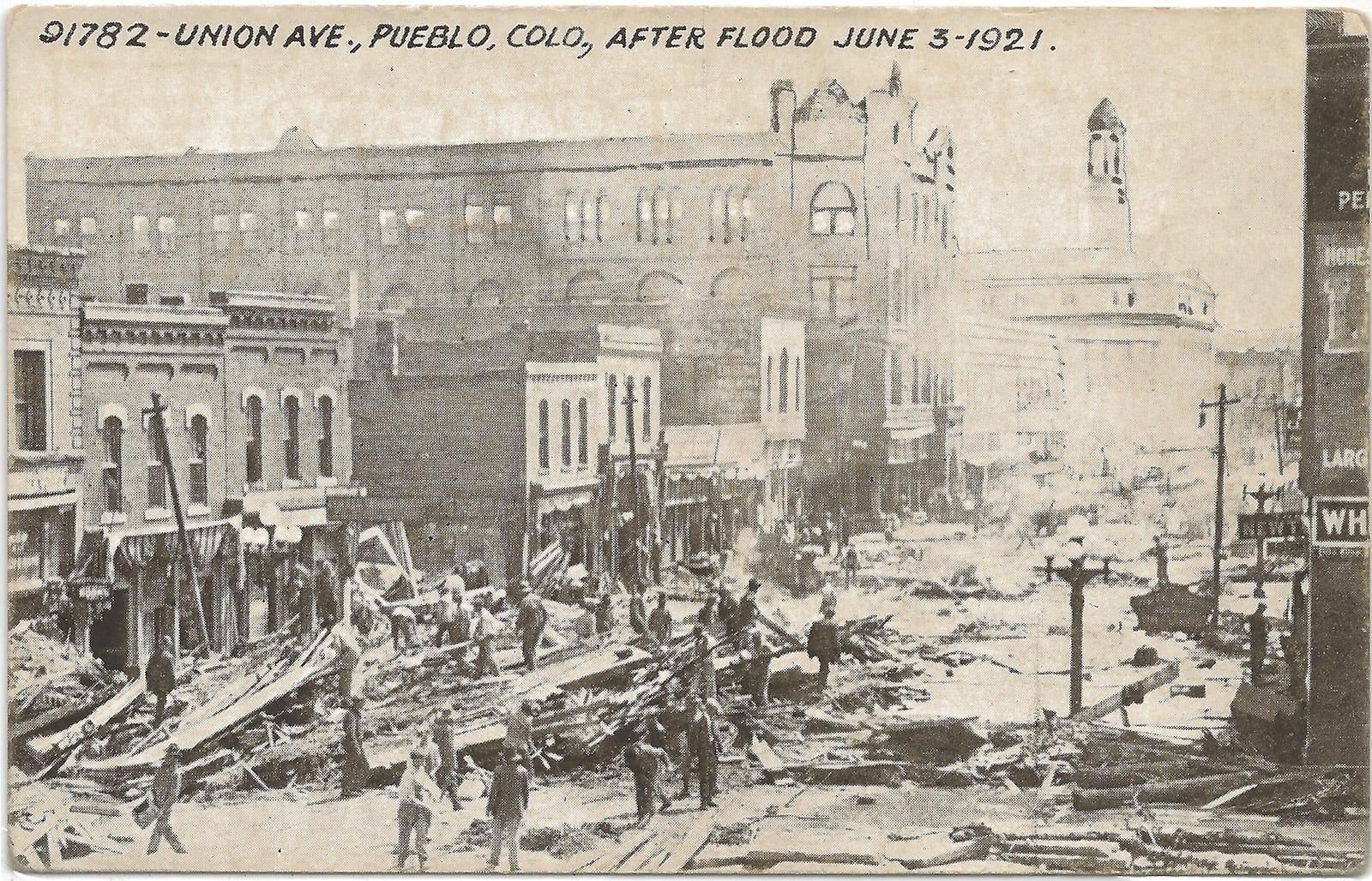Pueblo Colorado 1921 Flood Downtown Buildings