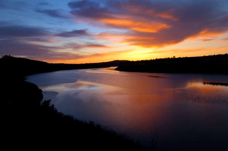 Sunset over Dolores River by McPhee Reservoir Colorado