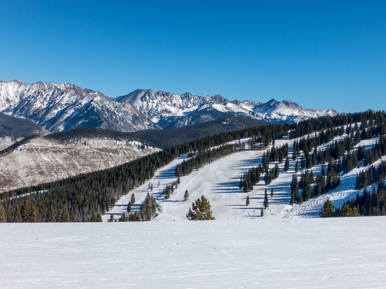 Vail Ski Resort Trails Front Sude Colorado