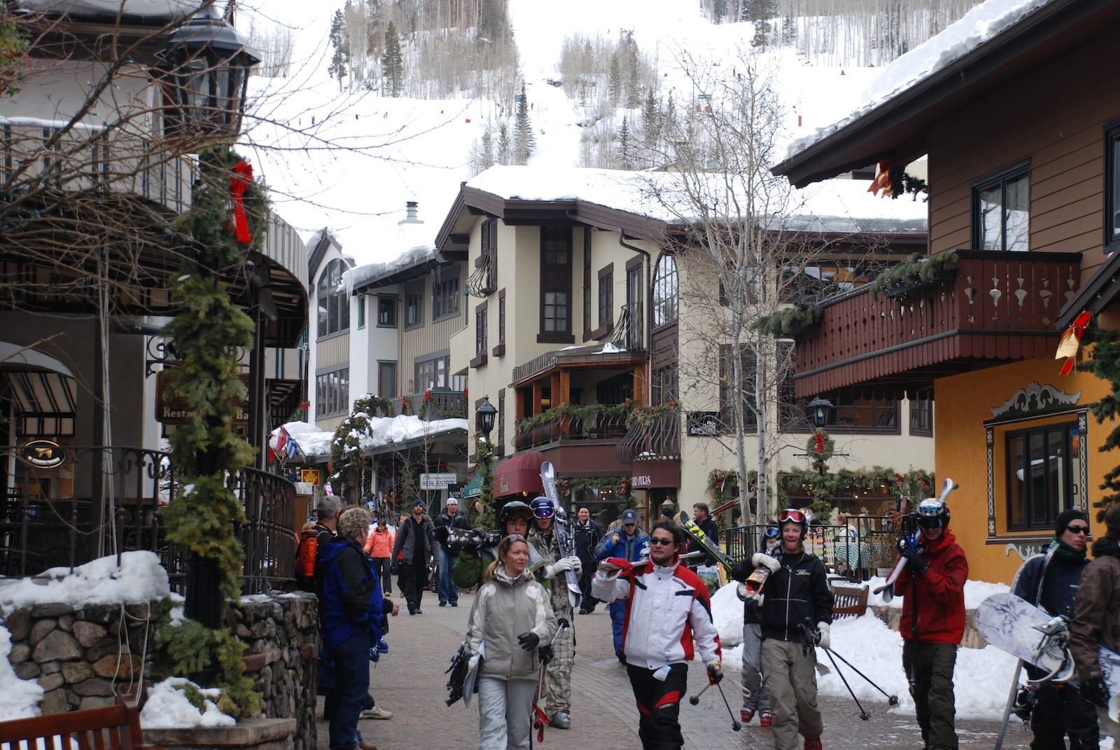 Vail Village Colorado Winter People Walking