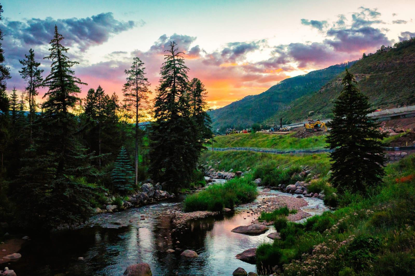 Summer Sunset Over Gore Creek, CO