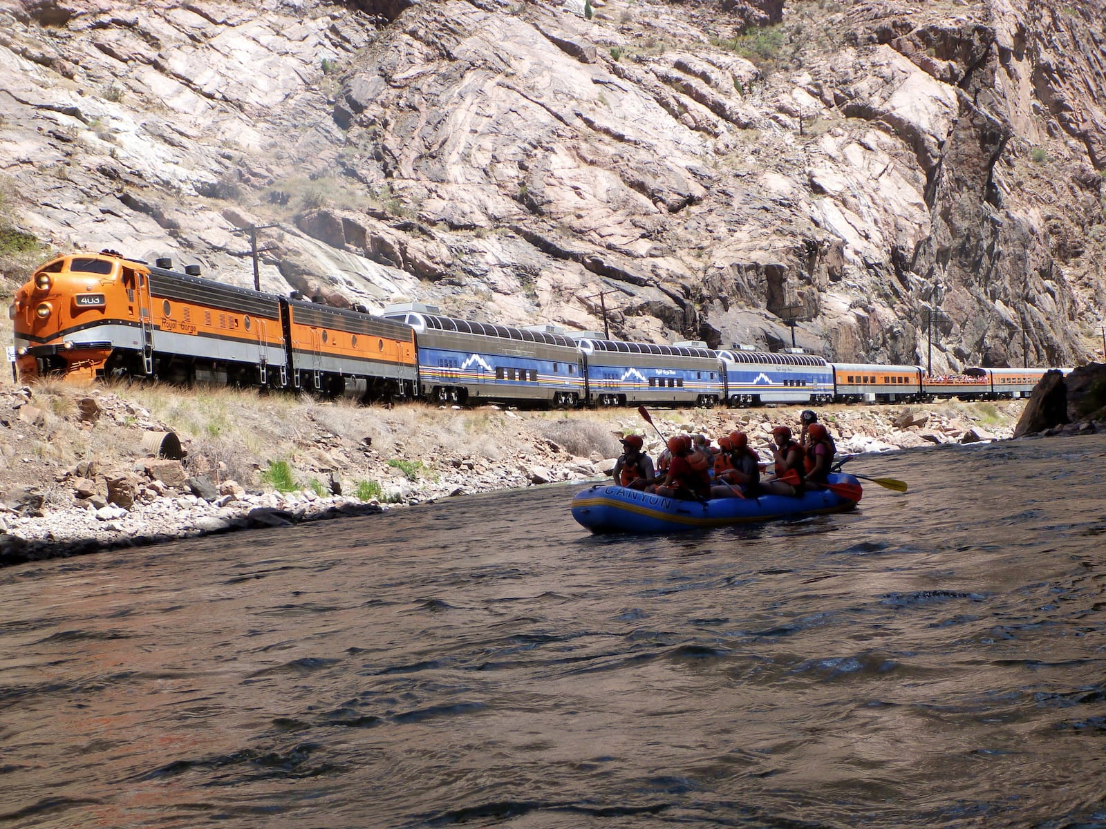 Arkansas River Rafting thru Royal Gorge beside Train