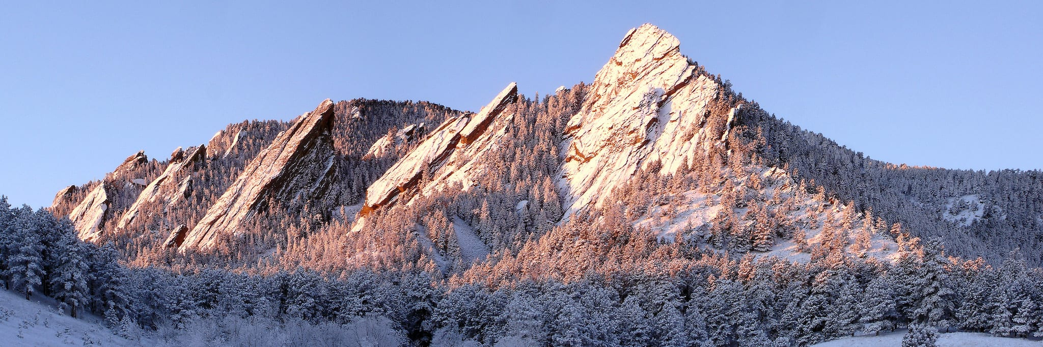 Boulder CO Flatirons Winter Sunrise