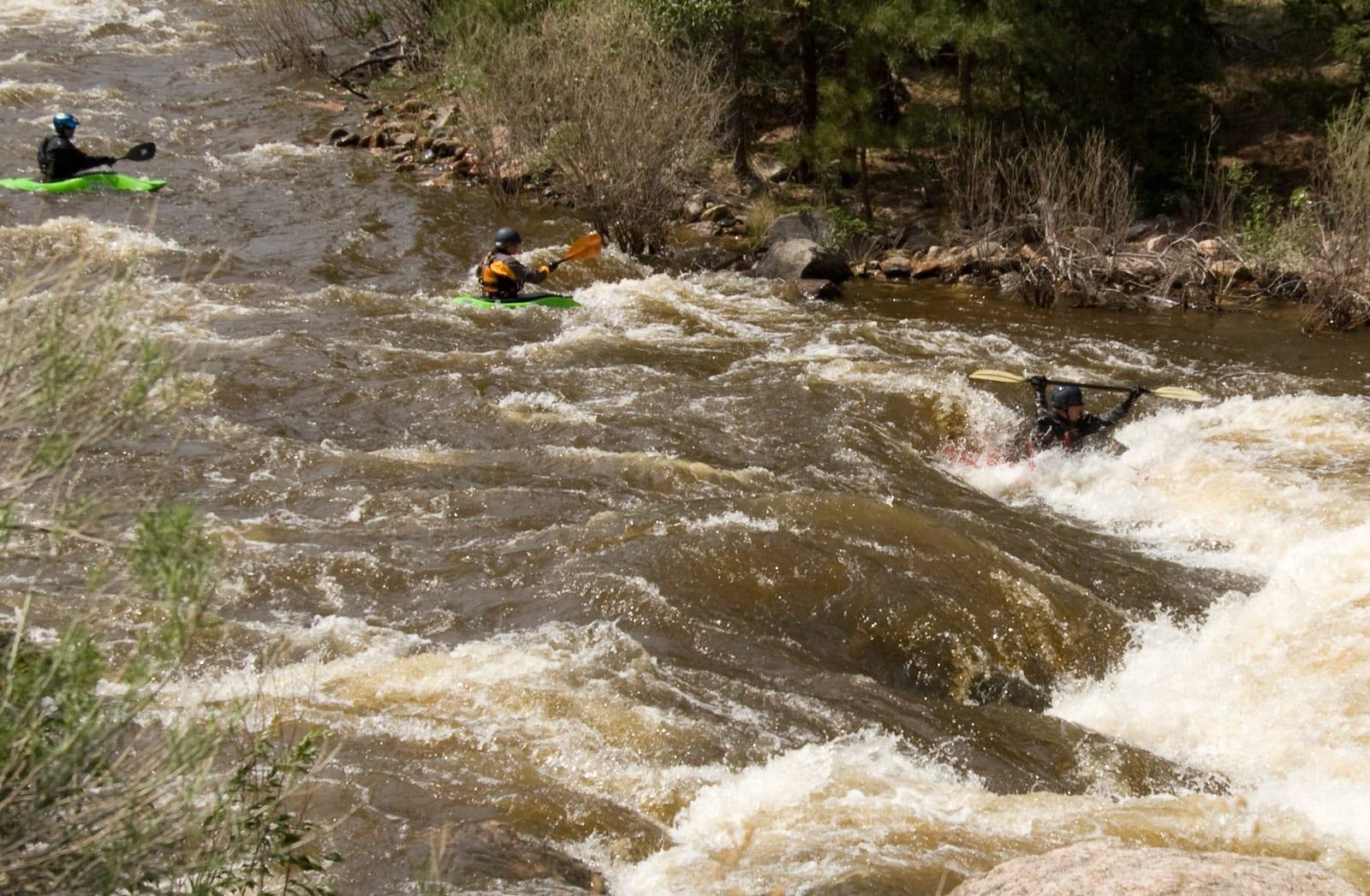 Cache La Poudre River Kayakers Colorado