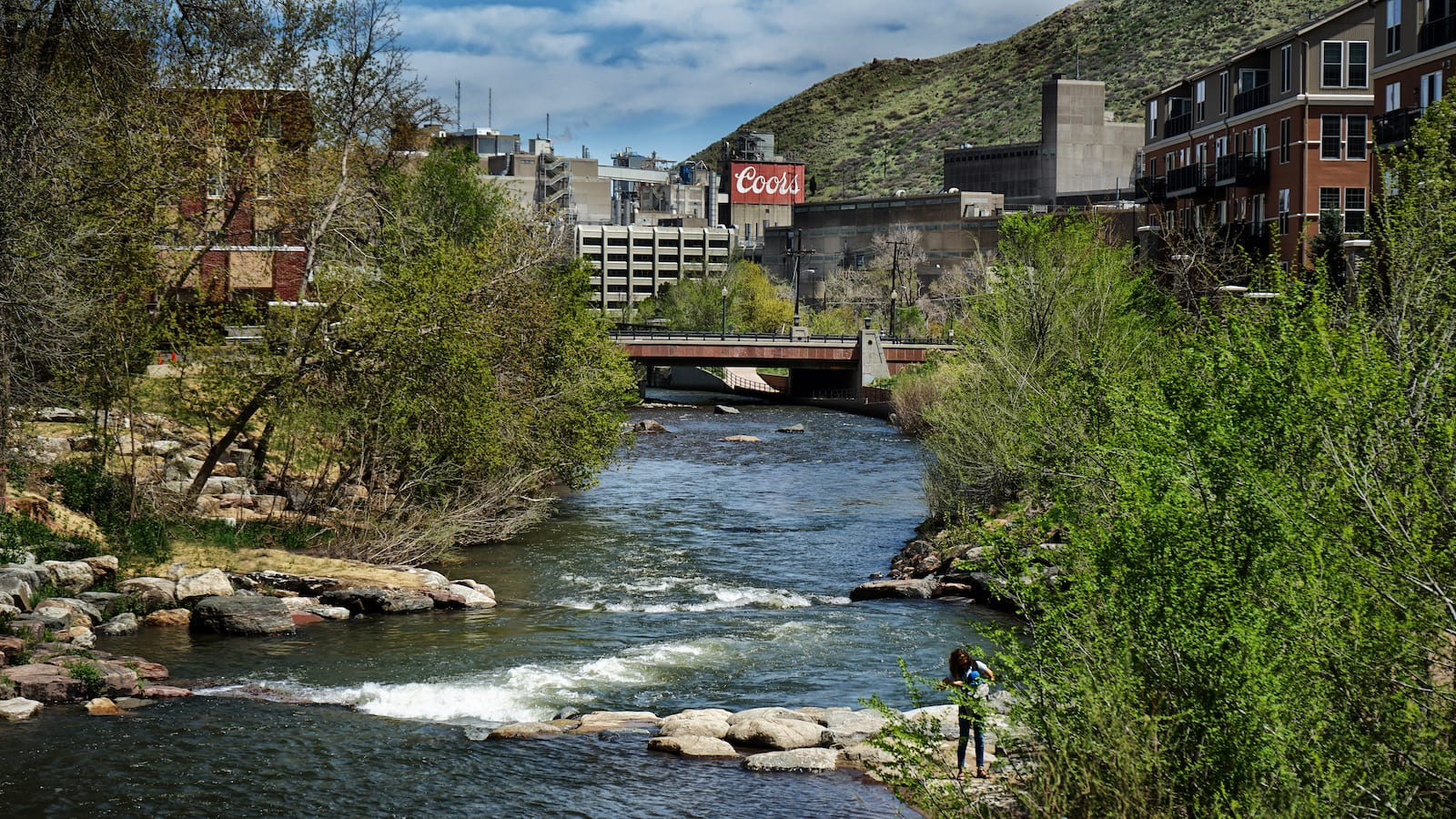 Clear Creek Flowing into Coors Brewery in Golden CO