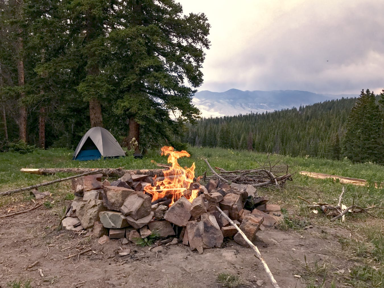 Colorado Dispersed Campsite with Tent and Campfire