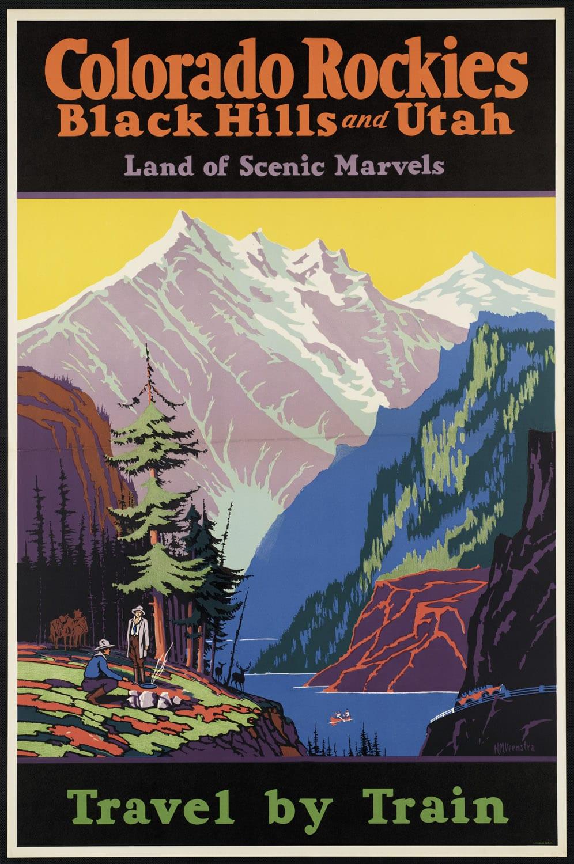 Colorado Rockies Travel By Train Vintage Poster
