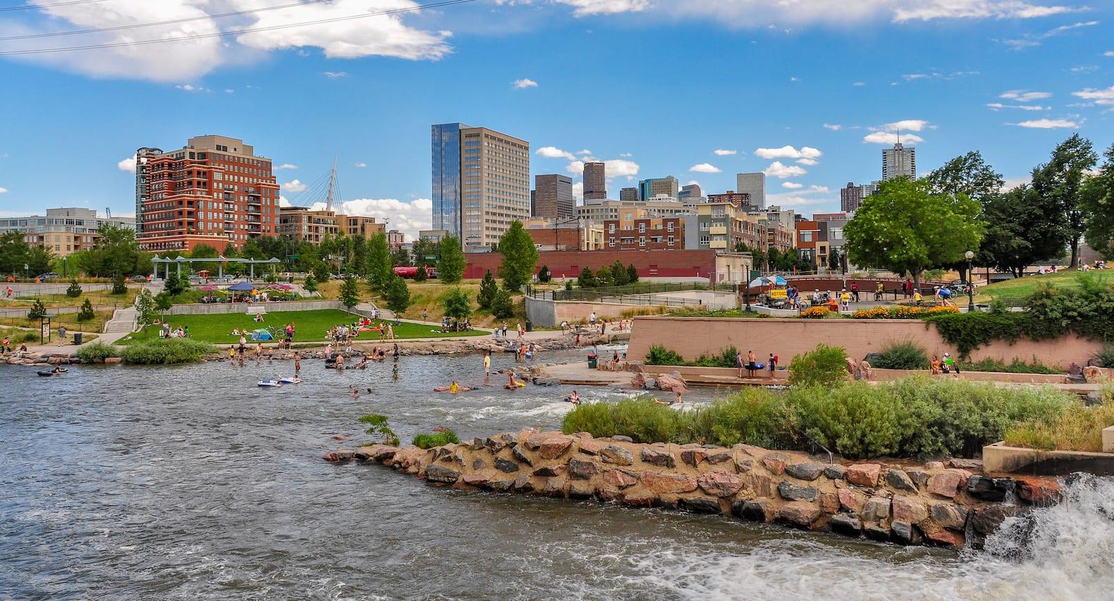 Confluence Park Denver CO Summer Kayakers