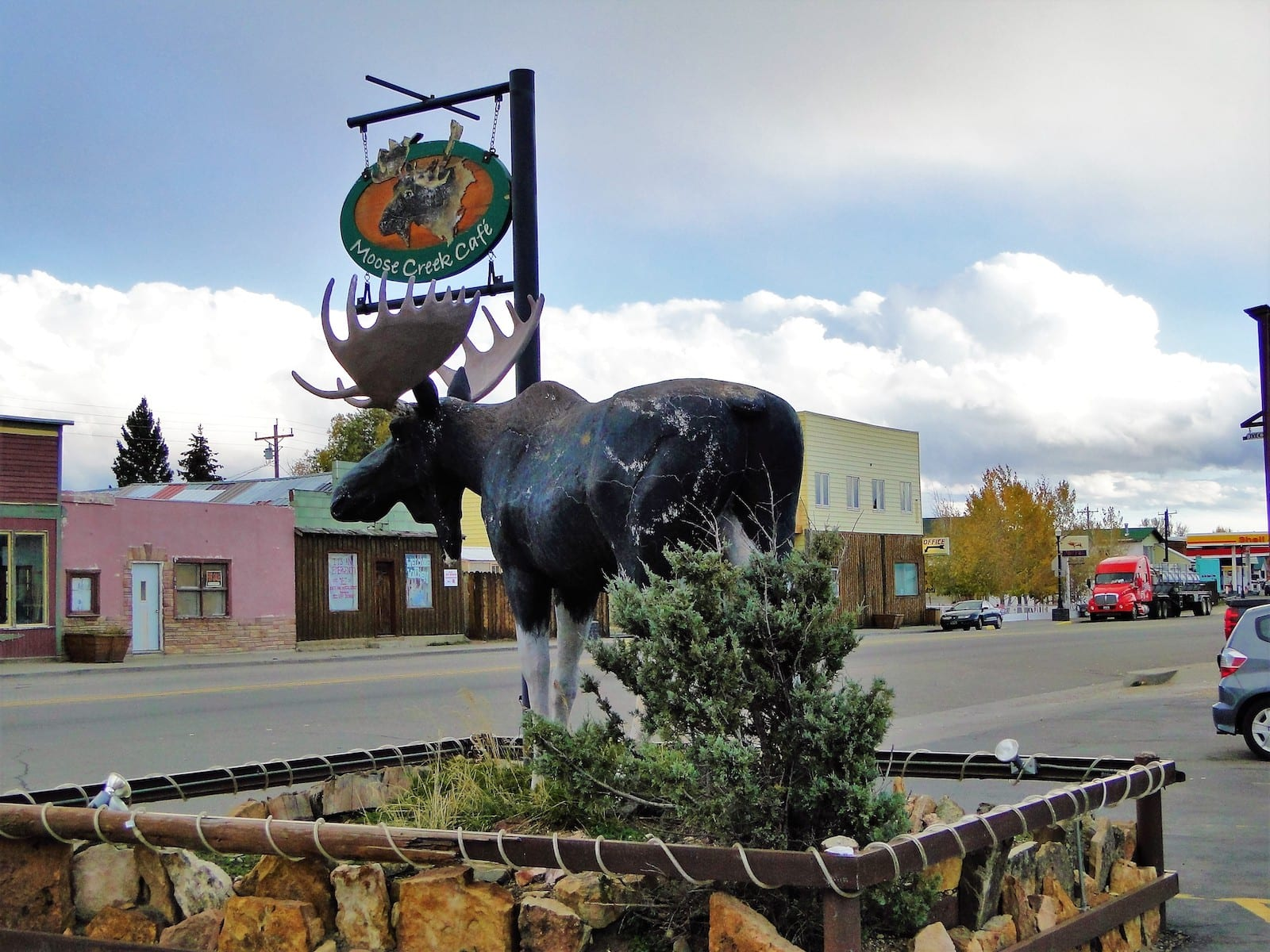 Moose Sculpture in Downtown Walden CO