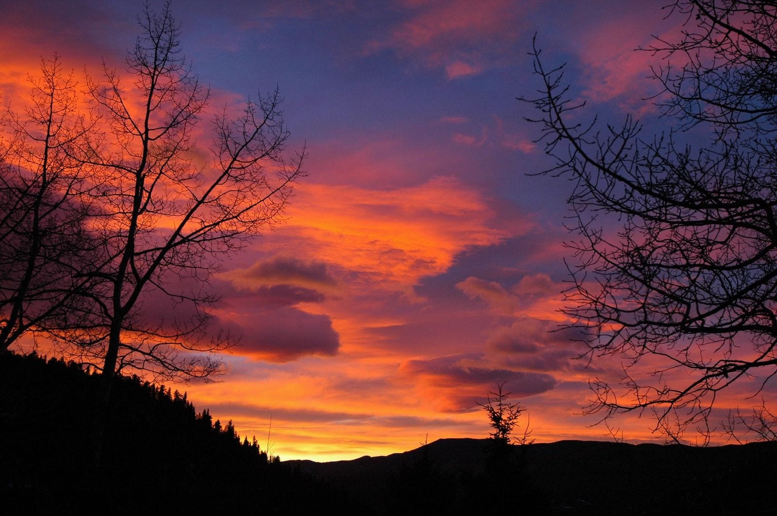 Evergreen Colorado Sunrise with Pink, Yellow and Blue Colors