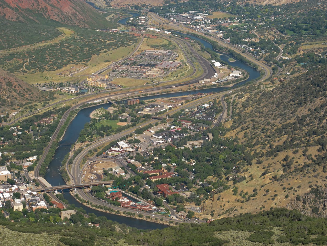 Glenwood Springs CO Aerial View from Lookout Mountain