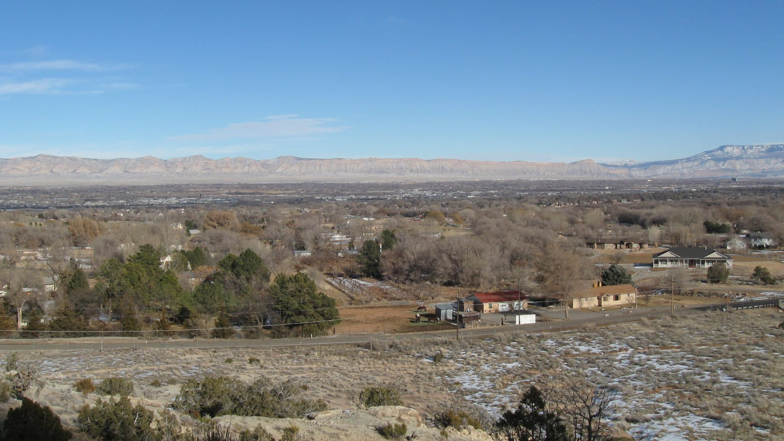 Grand Junction CO Winter Looking North