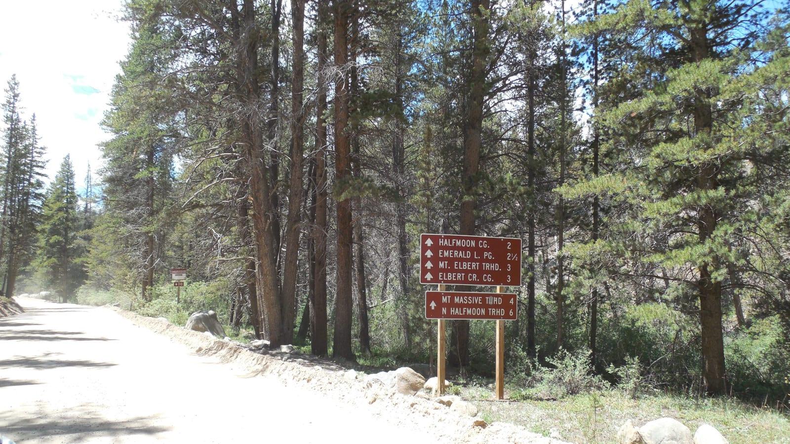 Halfmoon and Elbert Creek Campgrounds and Mt Elbert Trailhead Sign