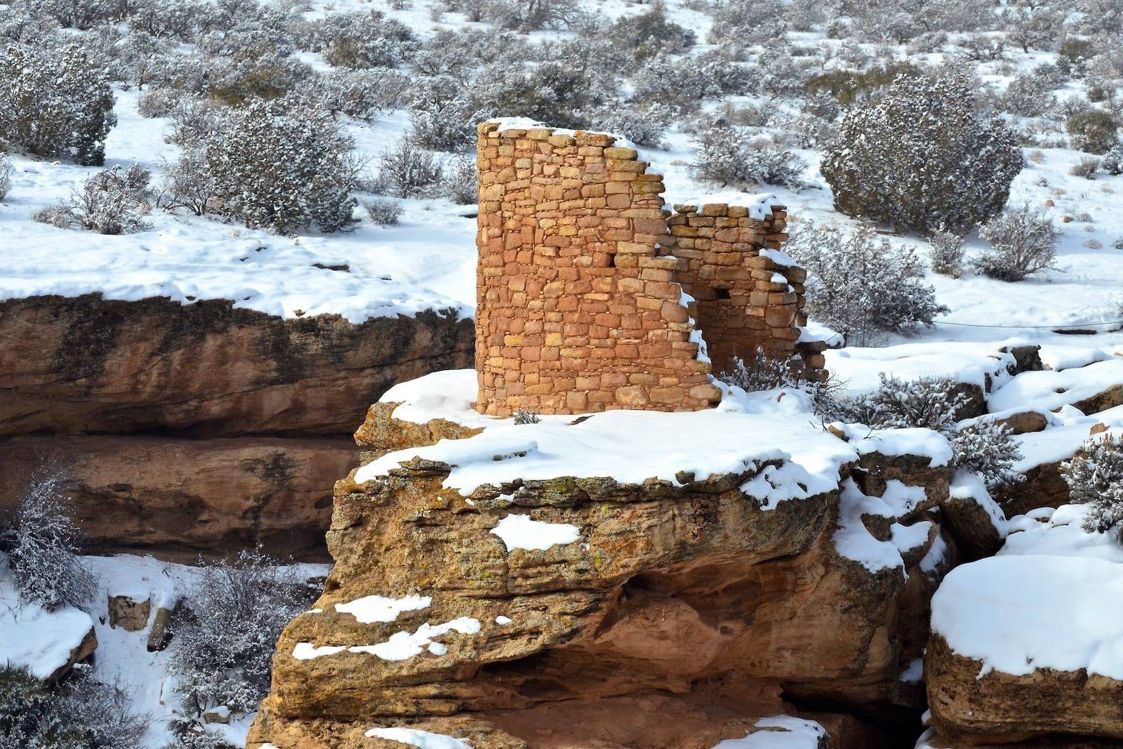 Hovenweep National Monument Winter Old Pueblo Ruins