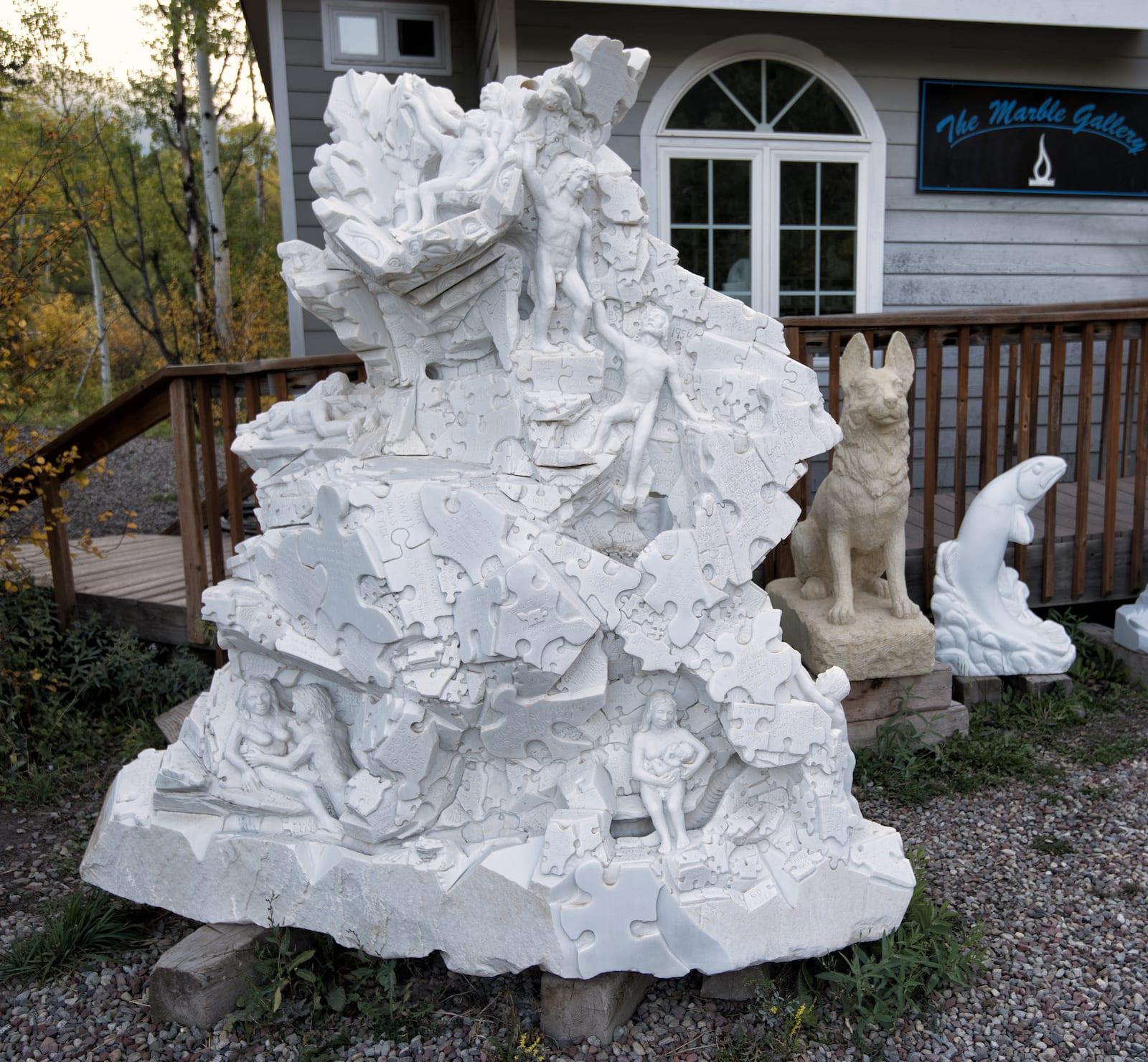 The Marble Gallery Puzzle Pieces Sculpture Colorado