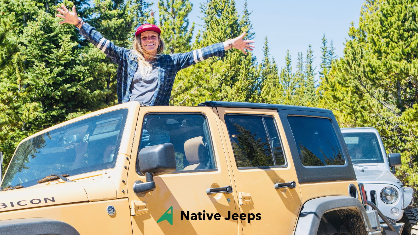 Native Jeeps Colorado Jeep Tour Lady with Hands up out of Jeep