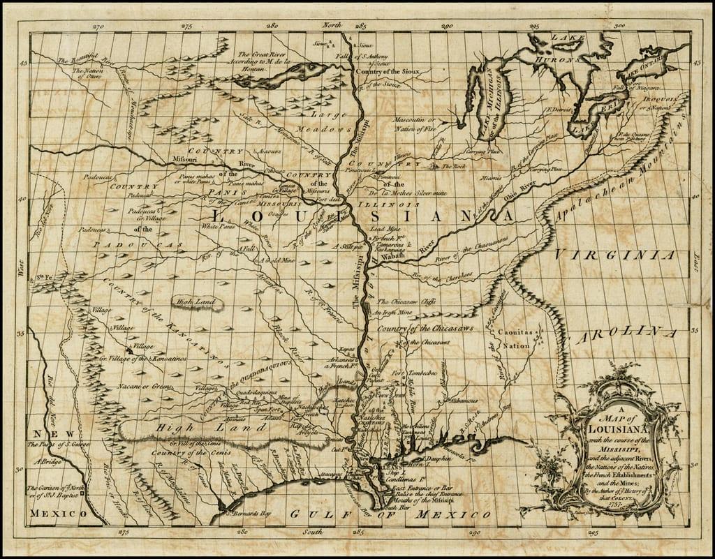 Map of Louisiana District Circa 1763