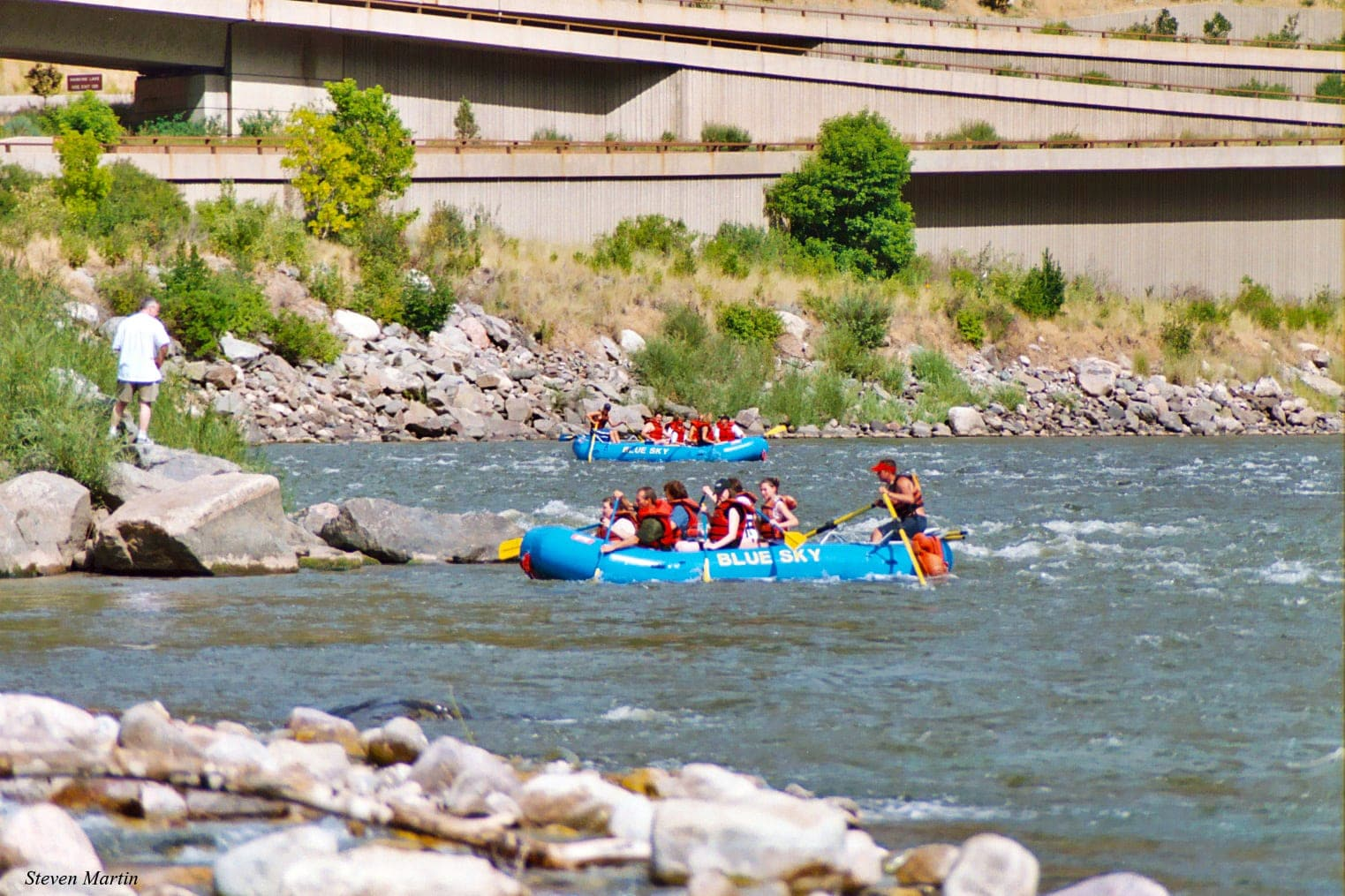 Rafts Land in Glenwood Canyon on Colorado River