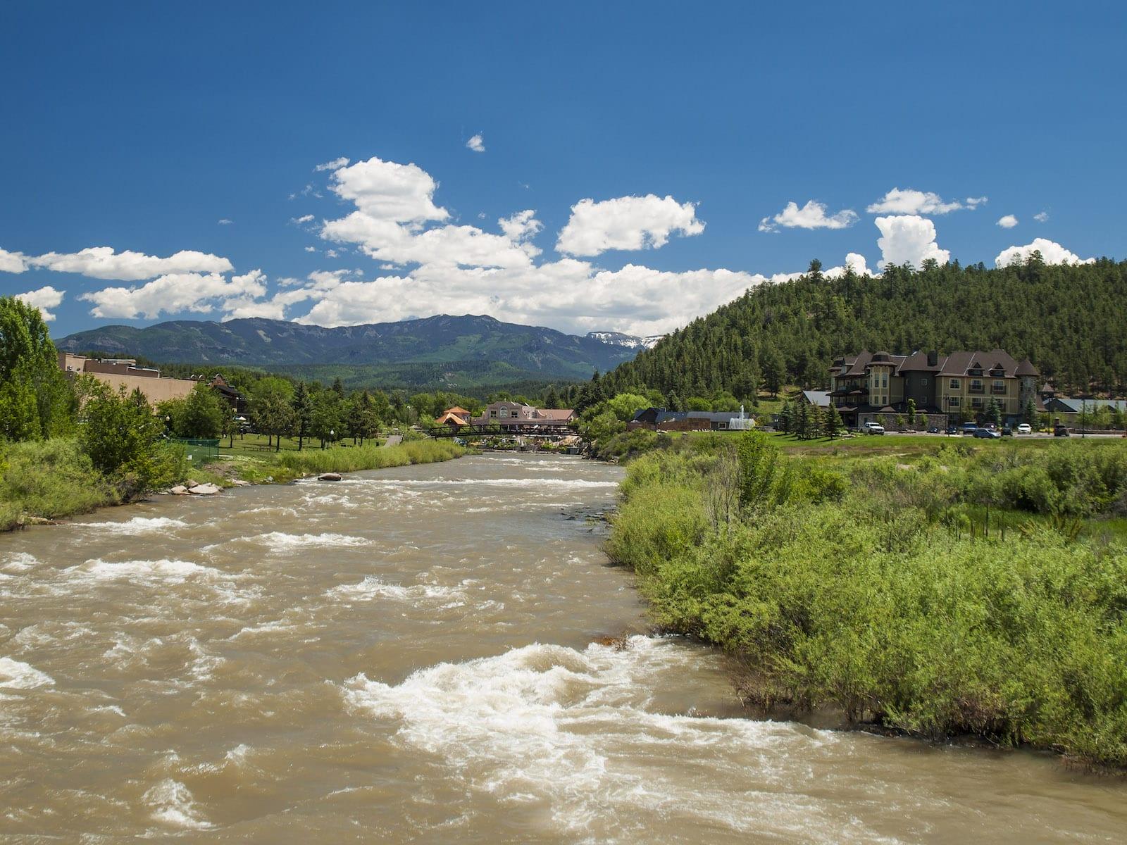 Full San Juan River in Pagosa Springs CO