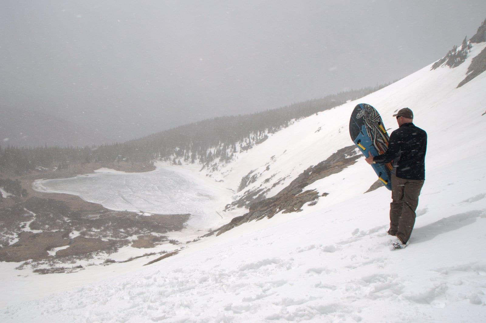 Snowboarder at St Mary's Glacier Colorado