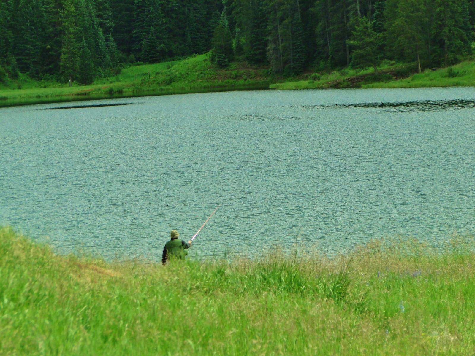 Sylvan Lake Eagle CO Fisherman Casting Line