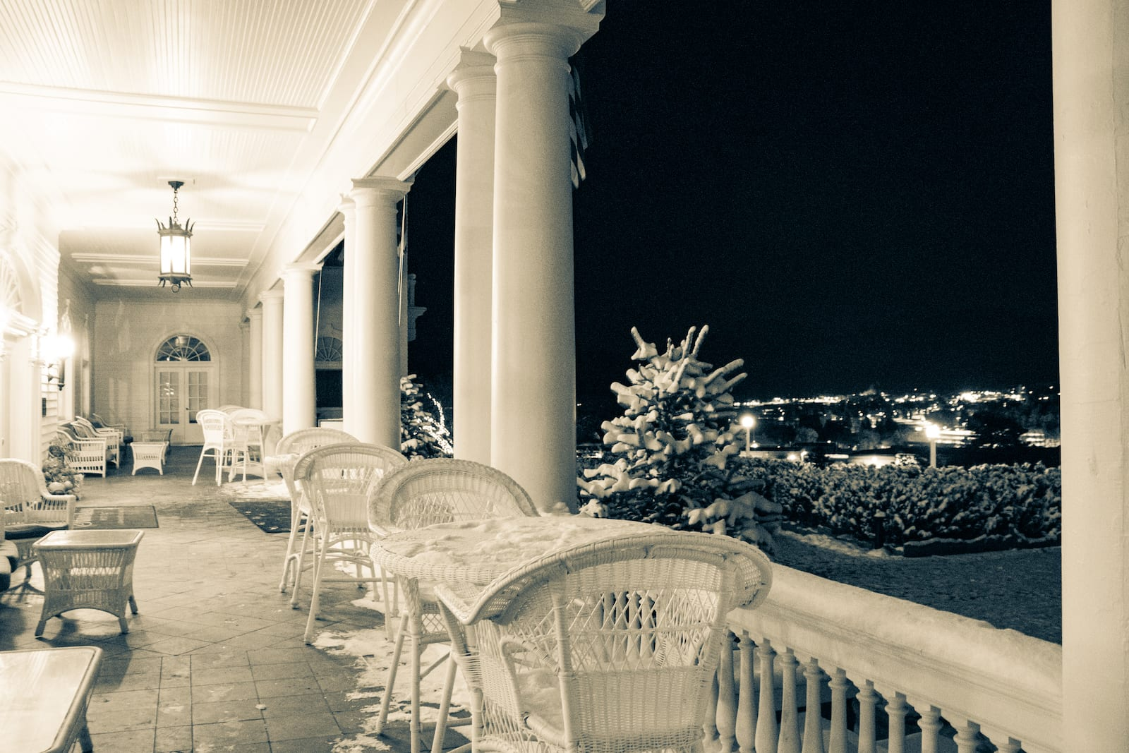 The Stanley Hotel Estes Park CO Patio at Night