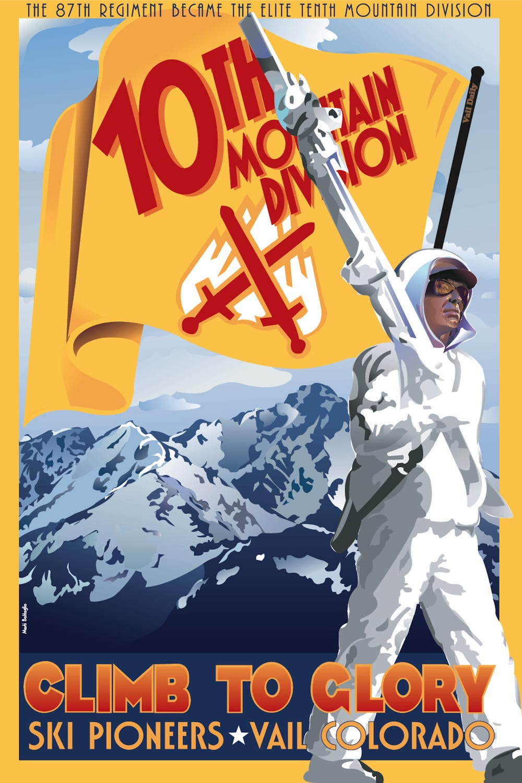 10th Mountain Division Ski Pioneers Vail Colorado Vintage Poster