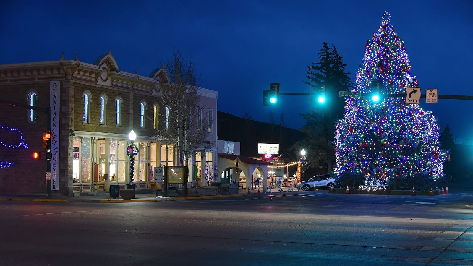 Large Christmas Tree in Downtown Gunnison, CO