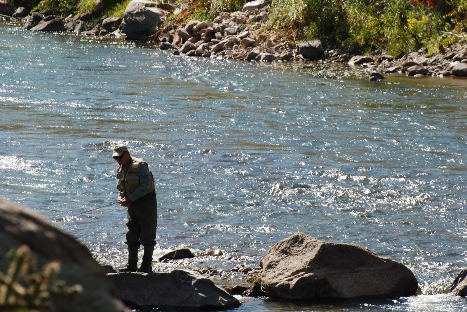 Angler Fishing on Arkansas River Echo Colorado