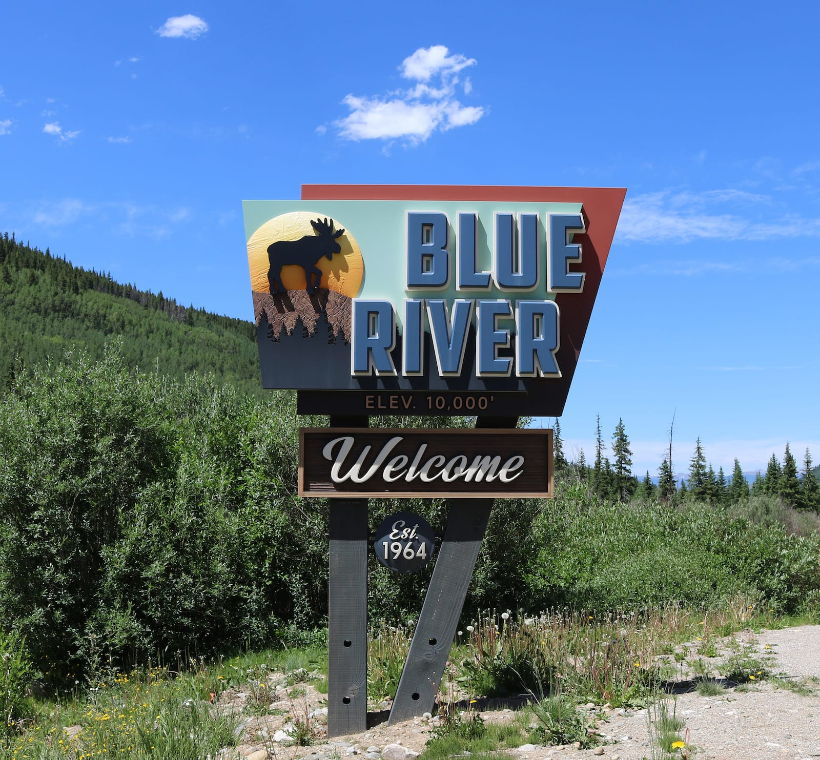 Blue River Colorado Welcome Sign