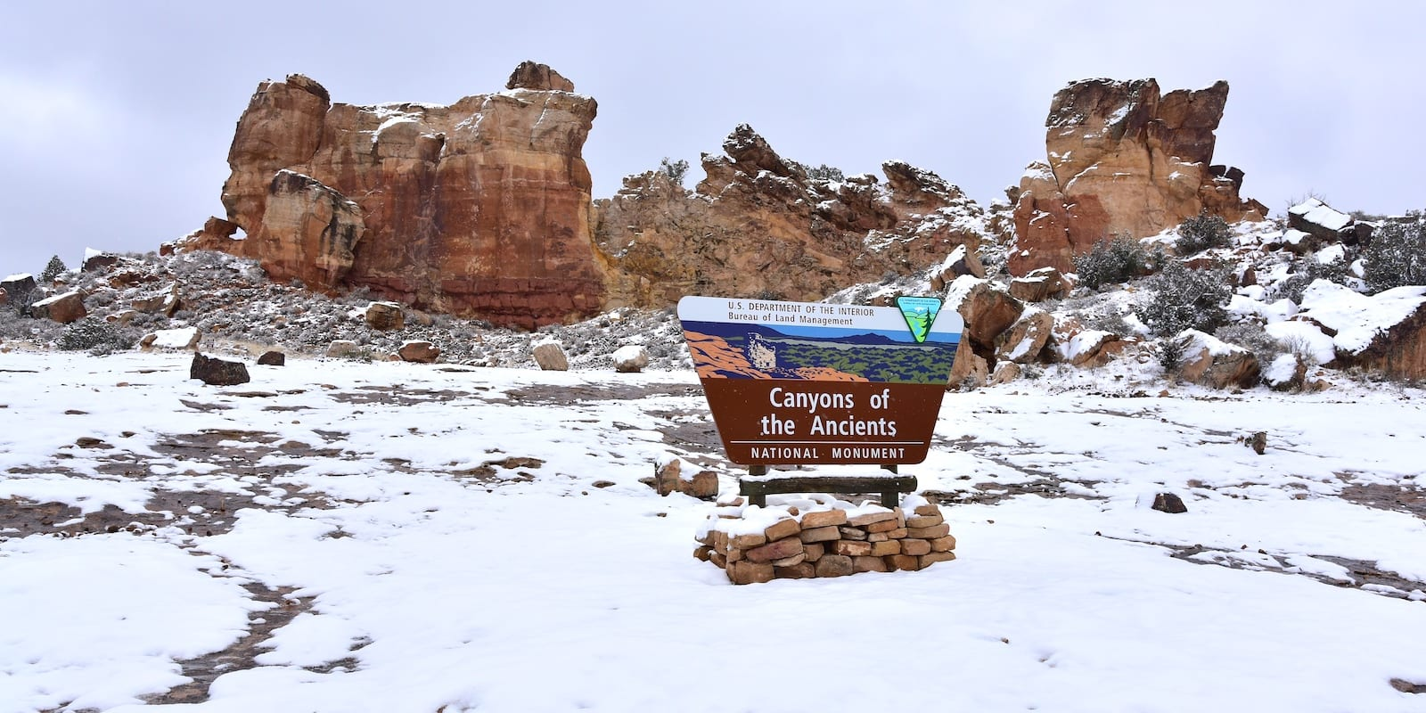Canyons of the Ancients National Monument Sign Winter