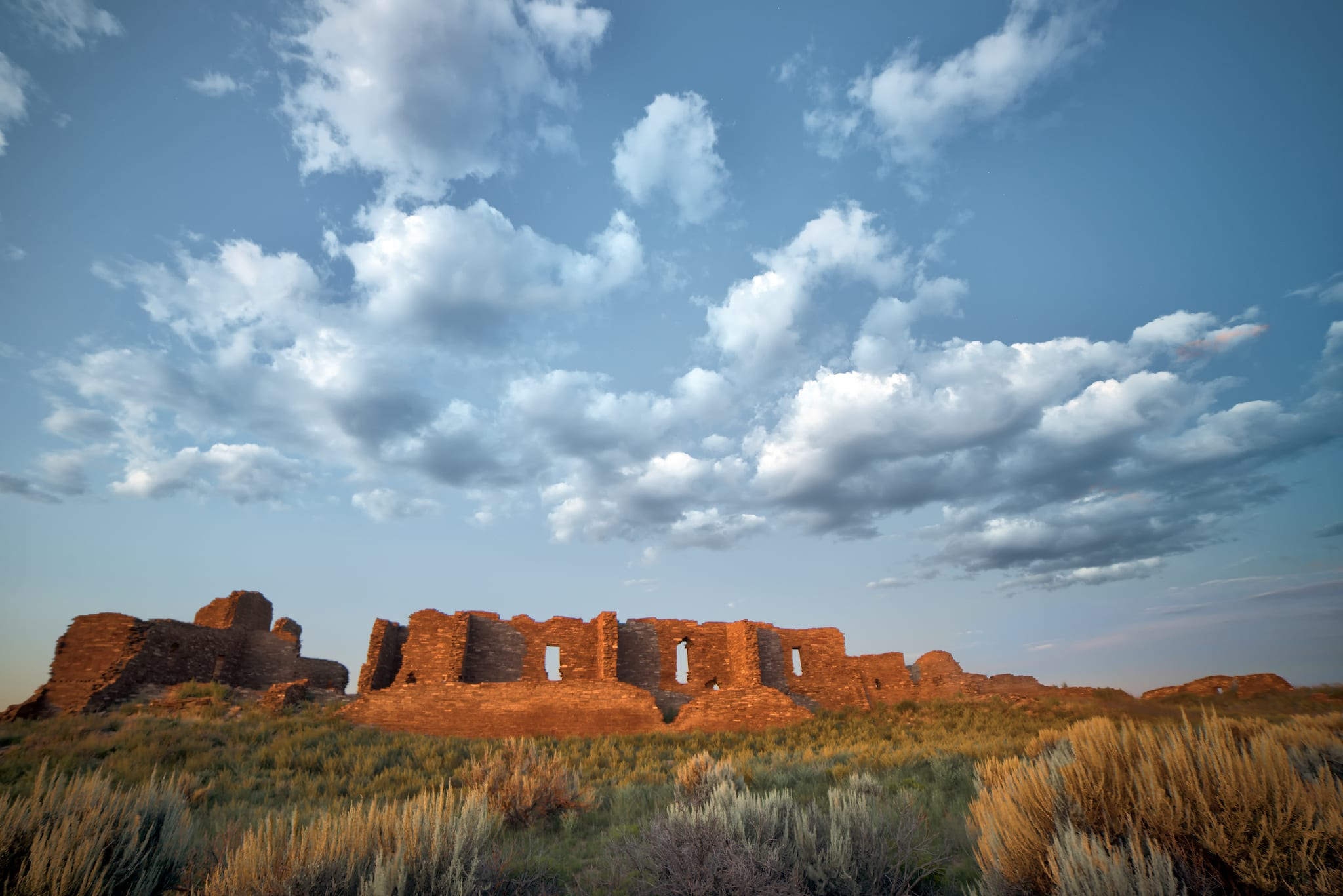 Pueblo Pintado Ruin Chaco Culture National Historic Park Sunset New Mexico