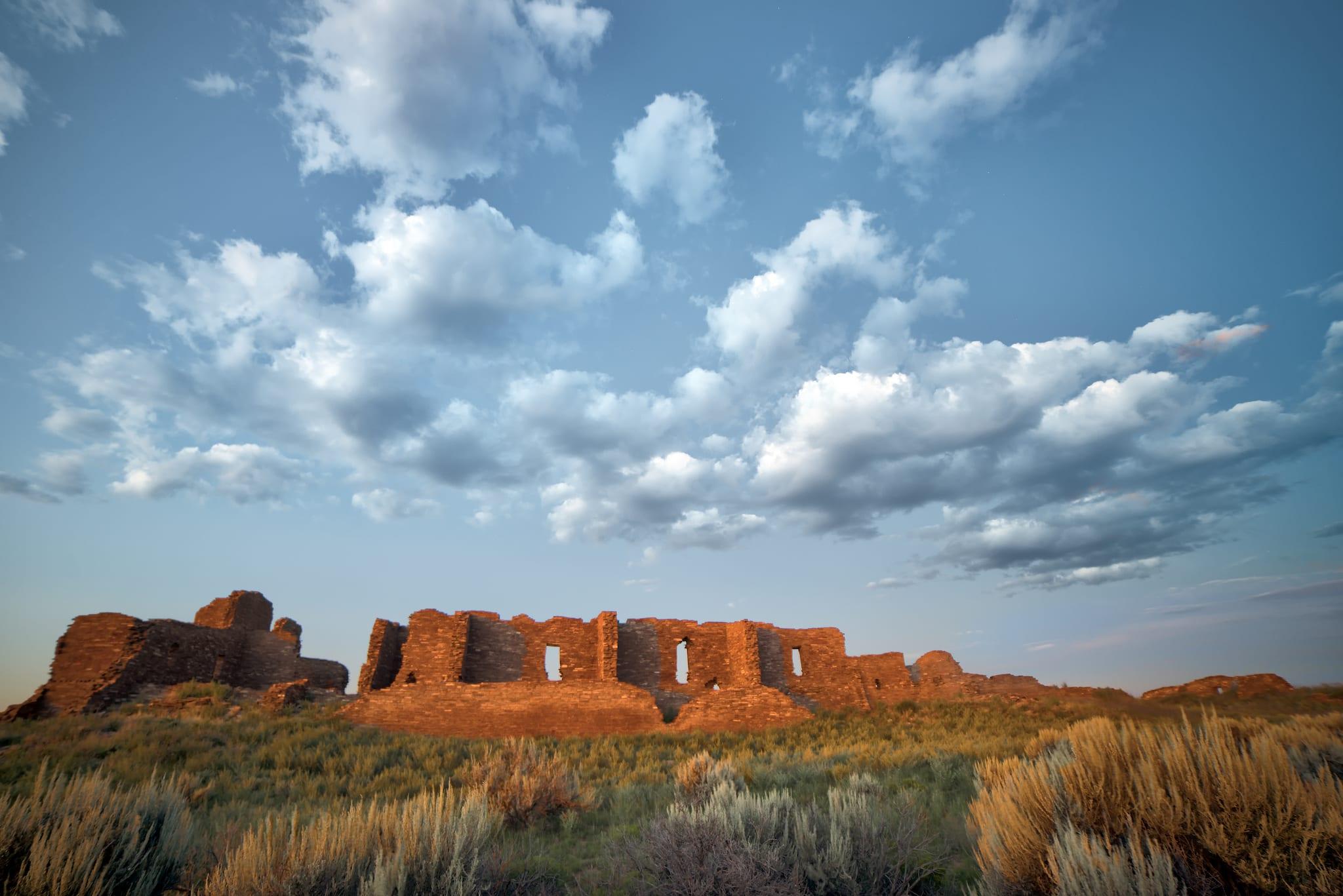 Pueblo Pintado Ruin Chaco Culture National Historic Park Sunset New Mexico