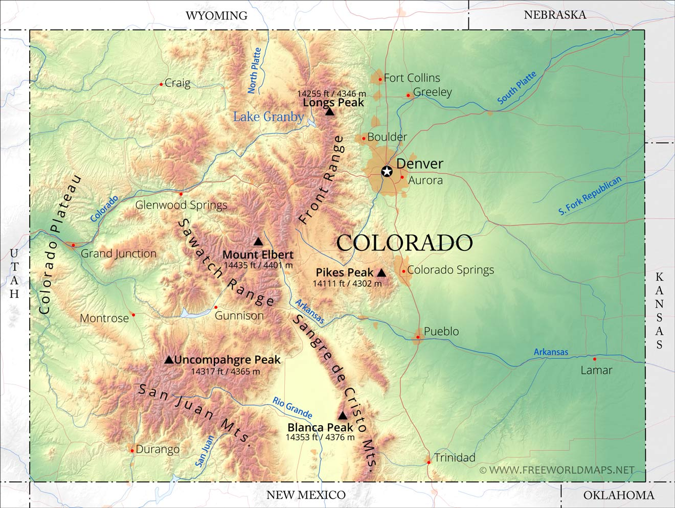 Colorado Mountain Range Map